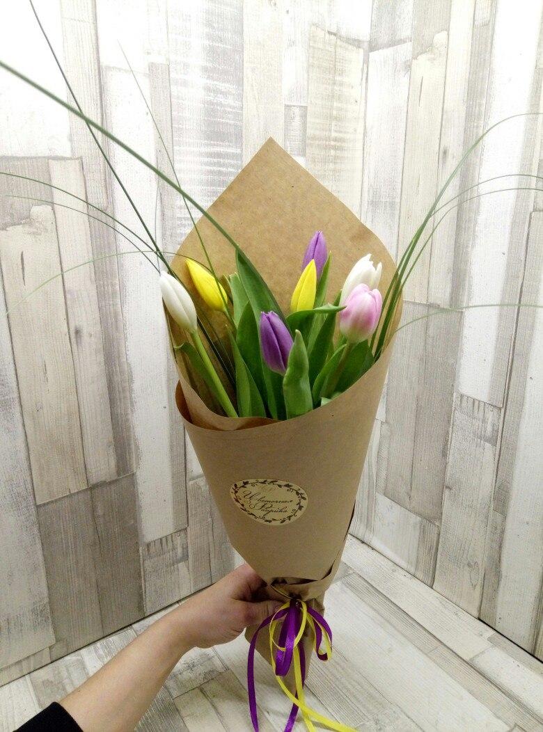 Букет из семи тюльпанов фото, цветы подарить